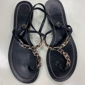 Tory Burch Black Chain Sandals